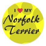 I Love (Heart) My Norfolk Terrier Classic Round Sticker