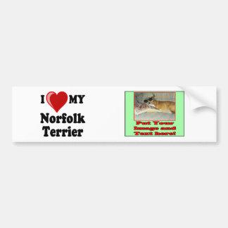 I Love (Heart) My Norfolk Terrier Dog Car Bumper Sticker