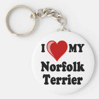 I Love (Heart) My Norfolk Terrier Dog Key Chains