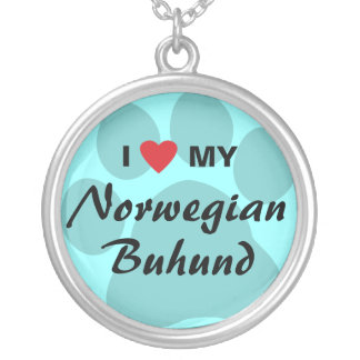 I Love (Heart) My Norwegian Buhund Silver Plated Necklace