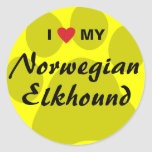 I Love (Heart) My Norwegian Elkhound Classic Round Sticker