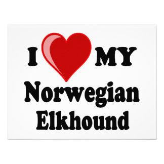 I Love Heart My Norwegian Elkhound Dog Custom Invites