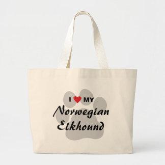 I Love (Heart) My Norwegian Elkhound Large Tote Bag