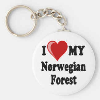 I Love Heart My Norwegian Forest Cat Keychains
