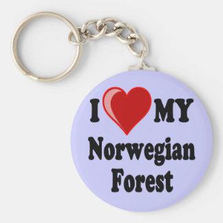 I Love Heart My Norwegian Forest Cat Key Chain