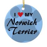 I Love (Heart) My Norwich Terrier Ceramic Ornament