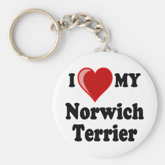 I Love (Heart) My Norwich Terrier Dog Keychain