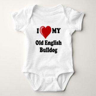 I Love (Heart) My Old English Bulldog Dog Baby Bodysuit