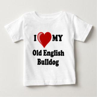 I Love (Heart) My Old English Bulldog Dog Baby T-Shirt