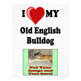 I Love (Heart) My Old English Bulldog Dog Flyer