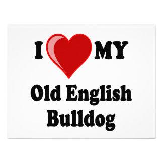 I Love (Heart) My Old English Bulldog Dog Personalized Invitation