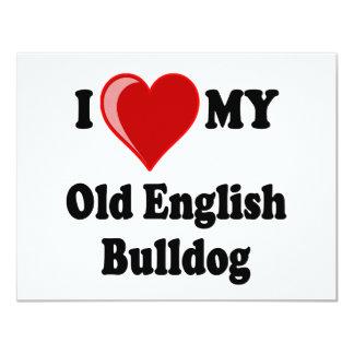 I Love (Heart) My Old English Bulldog Dog 4.25x5.5 Paper Invitation Card