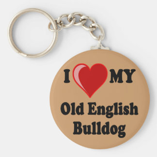I Love (Heart) My Old English Bulldog Dog Keychain