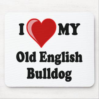 I Love (Heart) My Old English Bulldog Dog Mouse Pad