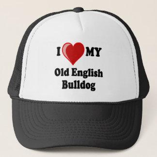 I Love (Heart) My Old English Bulldog Dog Trucker Hat