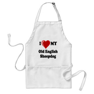 I Love (Heart) My Old English Sheepdog Dog Adult Apron
