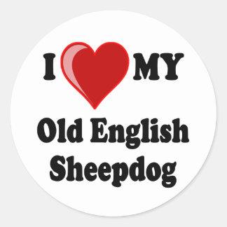 I Love (Heart) My Old English Sheepdog Dog Classic Round Sticker