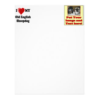 I Love (Heart) My Old English Sheepdog Dog Letterhead