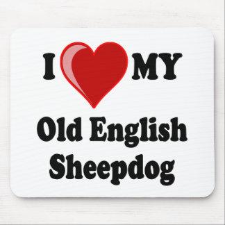 I Love (Heart) My Old English Sheepdog Dog Mouse Pad