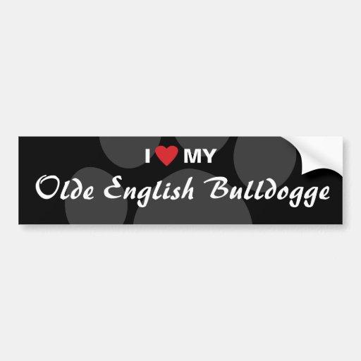 I Love (Heart) My Olde English Bulldogge Car Bumper Sticker