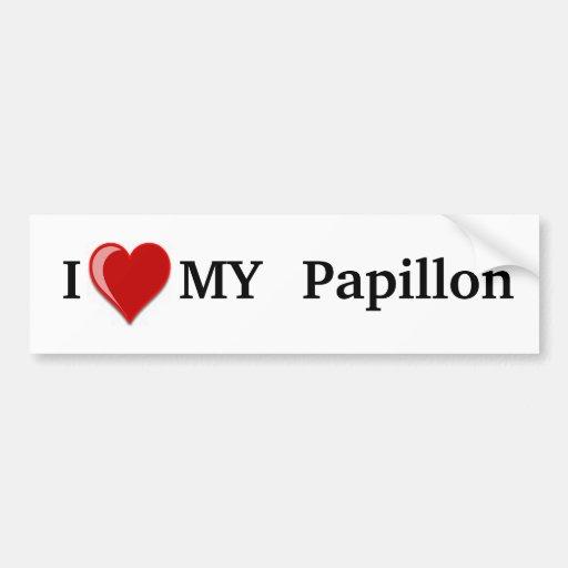 I Love (Heart) My Papillon Dog Bumper Stickers
