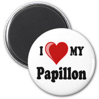 I Love (Heart) My Papillon Dog Fridge Magnets