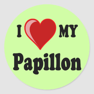 I Love (Heart) My Papillon Dog Round Stickers