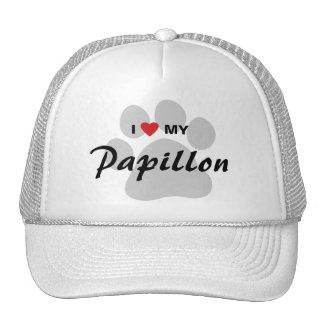 I Love (Heart) My Papillon Pawprint Trucker Hat