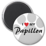 I Love (Heart) My Papillon Pawprint Magnet