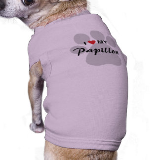 I Love (Heart) My Papillon Pawprint Tee