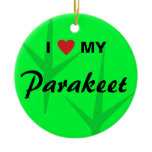 I Love (Heart) My Parakeet Bird Tracks Design Ceramic Ornament