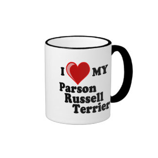 I Love (Heart) My Parson Russell Terrier Dog Ringer Mug