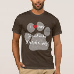 I Love (Heart) My Pembroke Welsh Corgi Pawprint T-Shirt