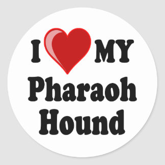 I Love (Heart) My Pharaoh Hound Dog Classic Round Sticker