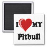 I Love (Heart) My Pitbull Dog 2 Inch Square Magnet