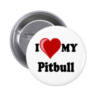 I Love (Heart) My Pitbull Dog 2 Inch Round Button