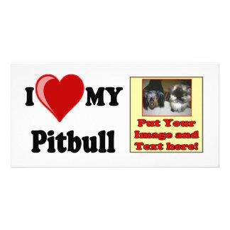 I Love (Heart) My Pitbull Dog Card