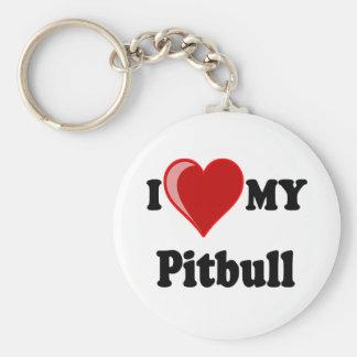 I Love (Heart) My Pitbull Dog Key Chain