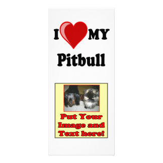 I Love (Heart) My Pitbull Dog Rack Card