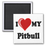 I Love (Heart) My Pitbull Dog Refrigerator Magnet