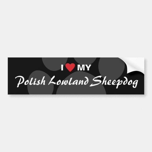 I Love (Heart) My Polish Lowland Sheepdog Car Bumper Sticker