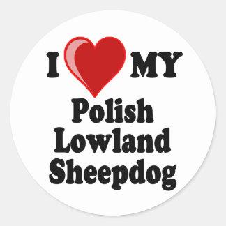 I Love (Heart) My Polish Lowland Sheepdog Classic Round Sticker