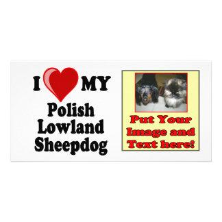 I Love (Heart) My Polish Lowland Sheepdog Photo Card Template