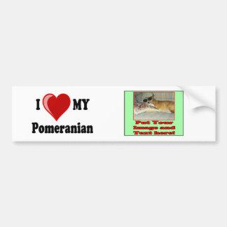 I Love (Heart) My Pomeranian Dog Bumper Sticker