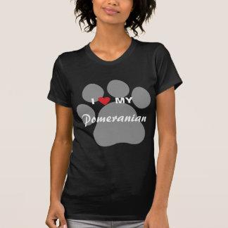 I Love (Heart) My Pomeranian Pawprint T Shirt