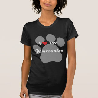 I Love (Heart) My Pomeranian Pawprint Tee Shirts