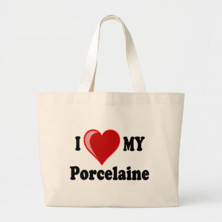 I Love (Heart) My Porcelaine Dog Tote Bag