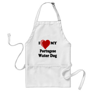 I Love (Heart) My Portugese Water Dog Adult Apron