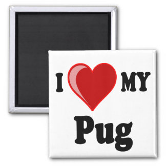 I Love (Heart) My Pug Dog 2 Inch Square Magnet