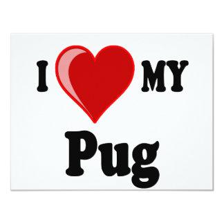 I Love (Heart) My Pug Dog Card